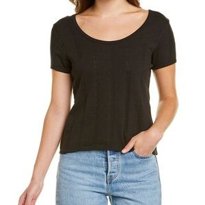 NEW Madewell pointelle ribbed black tee Small